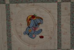 Old toys bunny in garden embroidery design