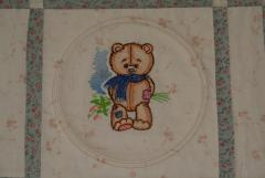 Teddy Bear with fflowers embroidery design