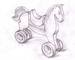 Toy wooden horse scetch
