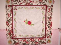 Rose garden blanket embroidered quilt