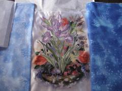 Big iris embroidery with printed background