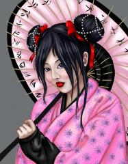 Geisha with umbrella art for embroidery design