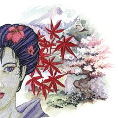 Geisha embroidery and oriental background