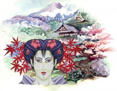Japanese background for Geisha embroidery