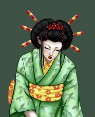 Original Geisha art for embroidery collection