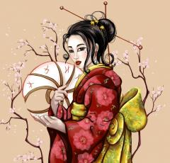 Geisha art for embroidery