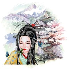Geisha embroidery with printed background