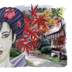 Geisha, oriental art and print