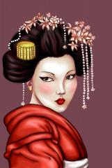 Oriental art for Geisha embroidery collection