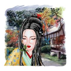 Geisha with butterfly embroidery with background print