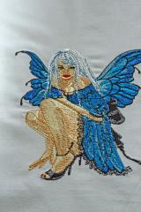 Blue Fairy embroidered design