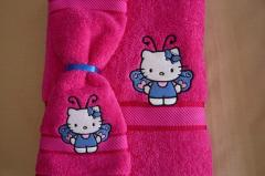 Embroidered towel with Hello Kitty design