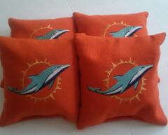 Embroidered pillow with Miami Dolphin 2013 logo