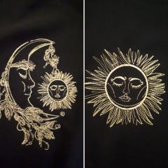 Sleeping moon and sun design