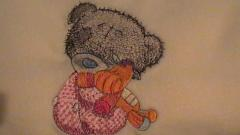 Teddy bear and favorite toy machine embroidery design