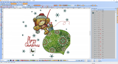 Teddy Bear Christmas time embroidery design preview in software