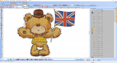 Teddy bear with union jack embrodiery design preview