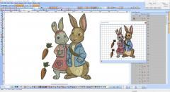 Two cute bunnies embroidery design preview