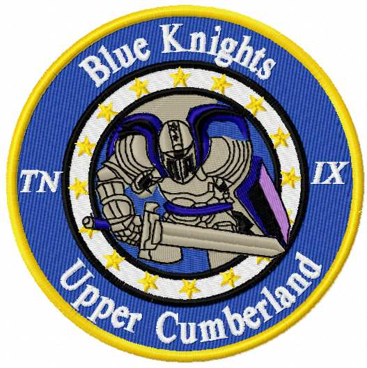 Blue knight upper cumberland logo embroidery design