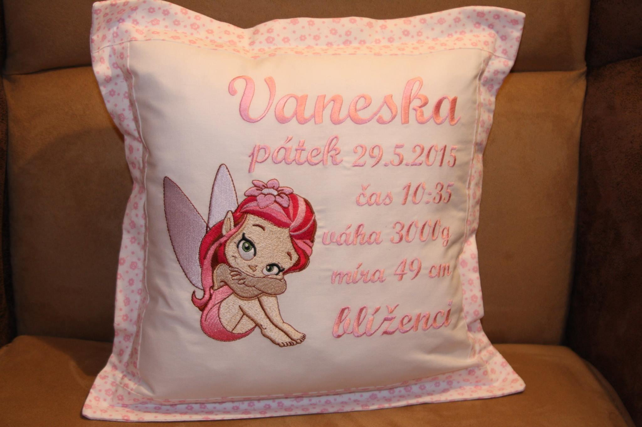 Embroidered cushion with little fairy design