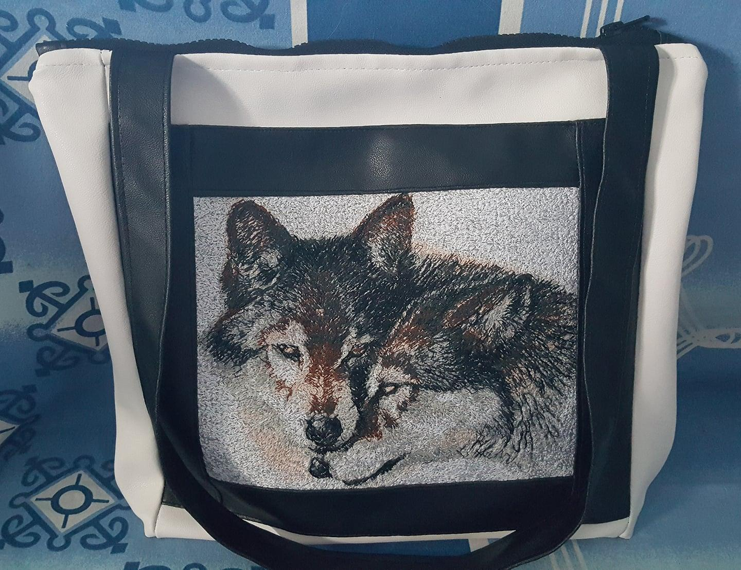 Embroidered bag couple of wolfs