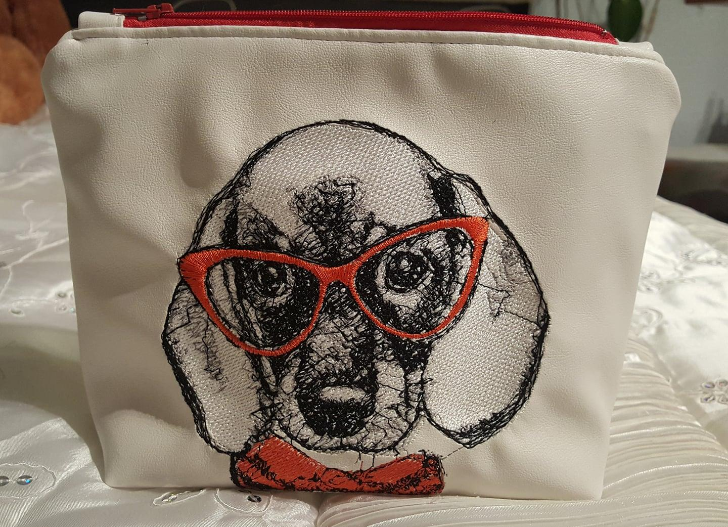 Embroidered bag with dog in red glasses free design