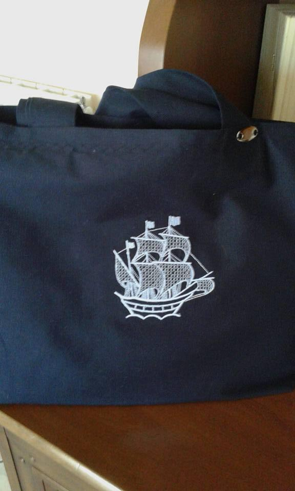 Embroidered bag Sailing ship