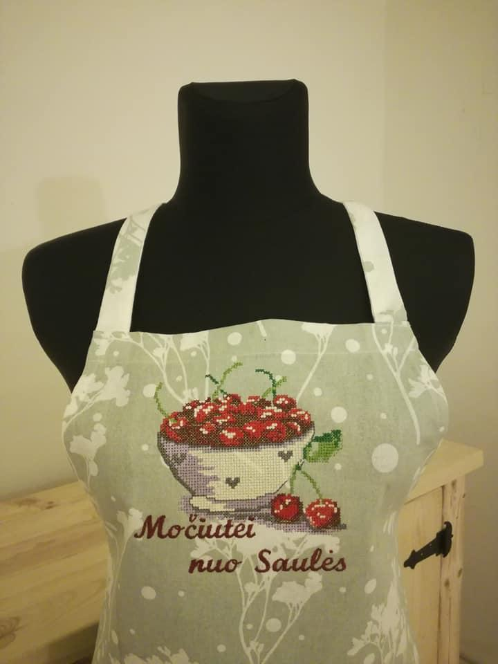 Embroireded apron bowl of cherries free design