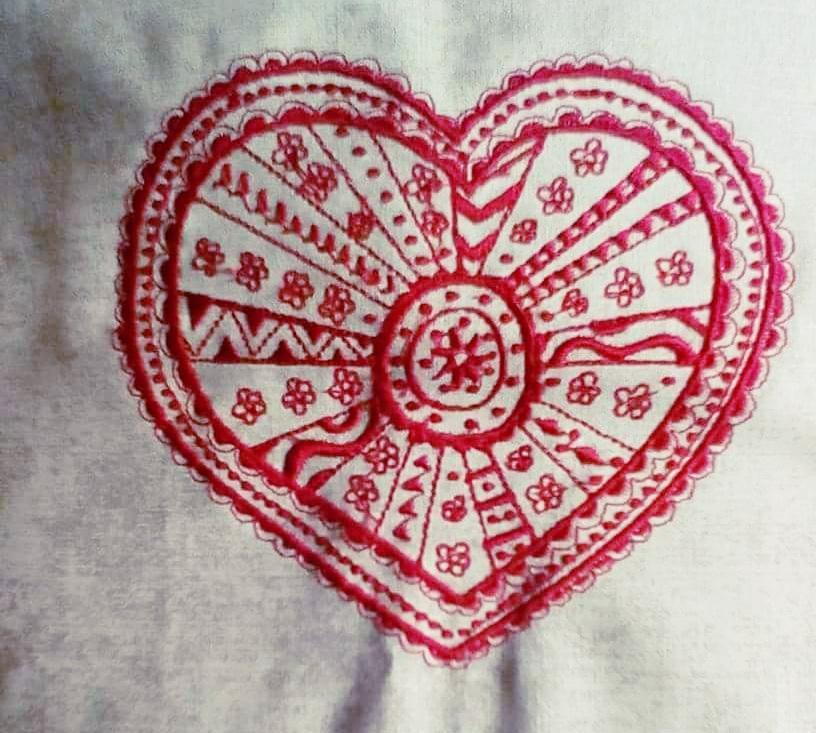 Ornament heart embroidery design