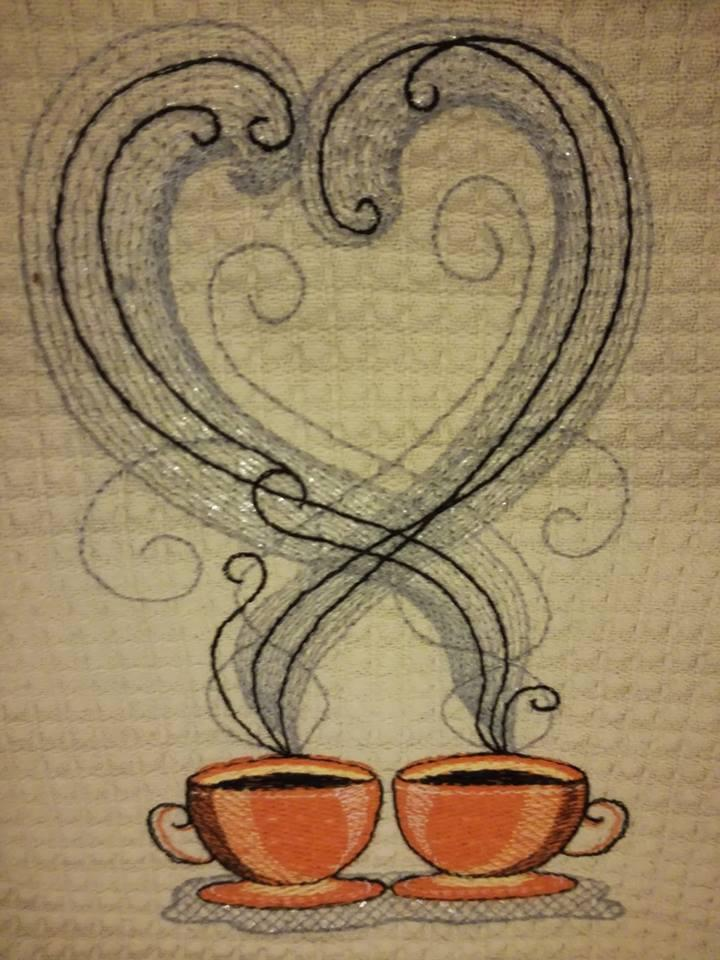 Two cups of coffee embroidery design