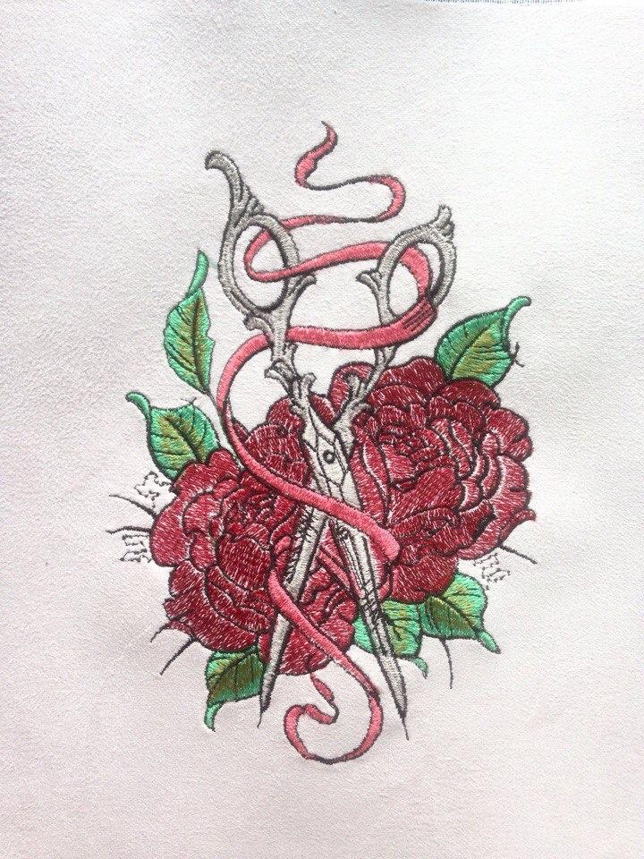 Vintage scissors embroidery design