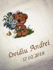 Bear with blue flowers embroidery design