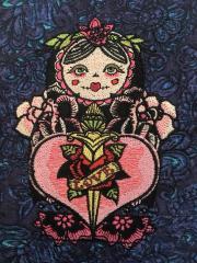 Black matryoshka embroidery design