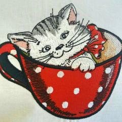 Cat in cup embroidery design