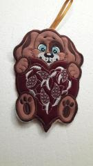 Dog  with heart free embroidery design