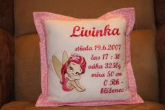 Embroidered cushion with little pink fairy design