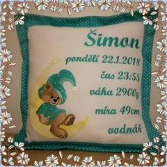 Embroidered cushion Teddy bear wizard