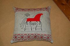 Embroidered cushion with modern art horse free design