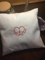 Embroidered cushion with rhythm of my heart free design