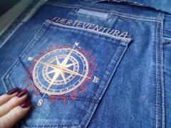 Embroidered jeans pocket wind rose