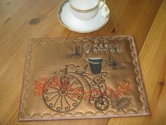 Embroidered napkin with retro bicycle design