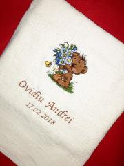 Embroidered towel bear with big bouquet