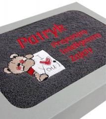 Embroidered towel in box with Bear I love you