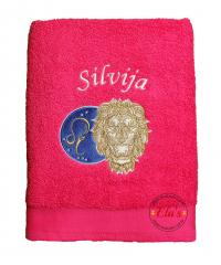 Embroidered towel Leo zodiac sign