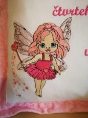 Cushion with Pink fairy embroidery design