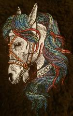 Portrait of horse embroidery design