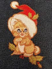 Small Santa kitten embroidery design
