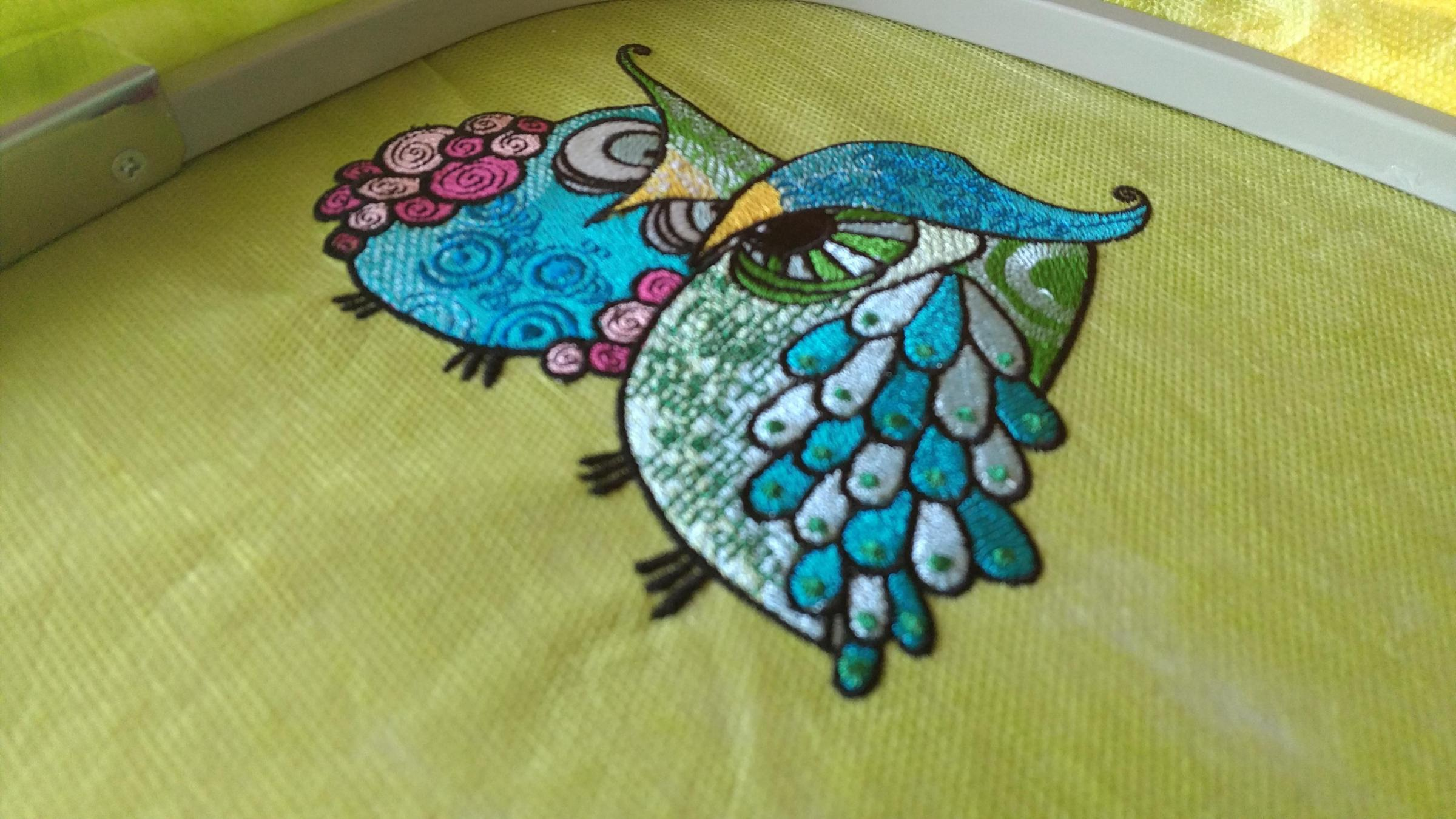 Grouсhy owls embroidery design on hoop