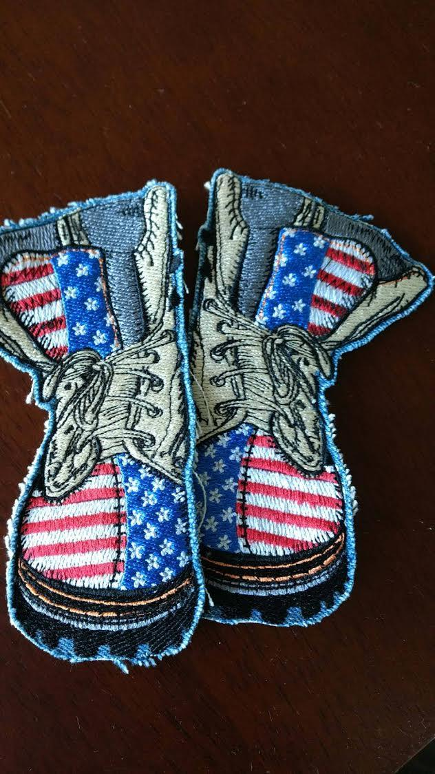 American Military Boot Embroidery Design Decoration Embroidery