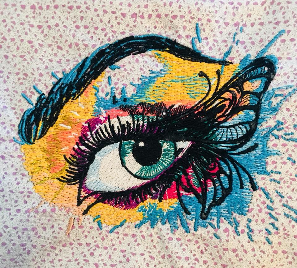 Colorful eye embroidery design